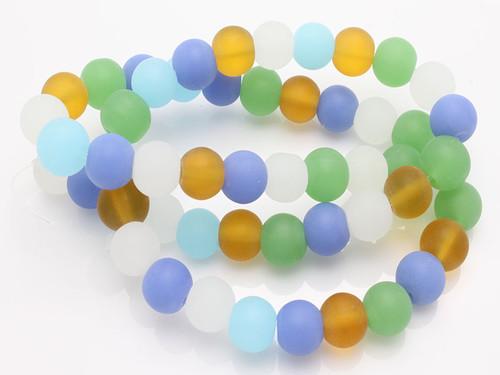 "8mm Mix Matte Quartz Matte Round Beads 15.5"" synthetic  synthetic"