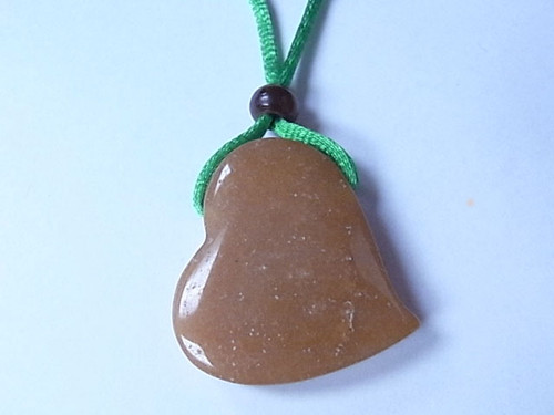 """36mm Red Aventurine Heart With Cord Necklace 36"""" [e1521]"""