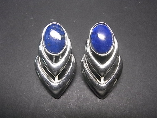 925 Sterling Silver 18x35mm A Grade Lapis Lazuli Post Earring