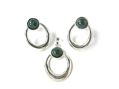 925 Sterling Silver 20x25mm A Grade Green Malachite Pendant & Post Earring