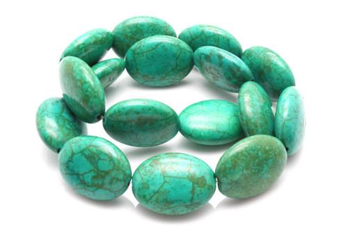 "15x20mm Tibetan Turquoise Puff Oval Beads 15.5"""
