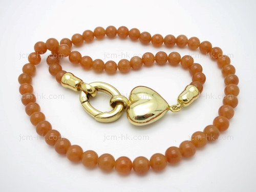 """6mm Red Aventurine Necklace 18"""" & 14k Gold Plated Clasp [e3063]"""