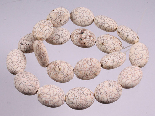 """15x20mm White Turquoise Puff Oval Beads 15.5"""""""