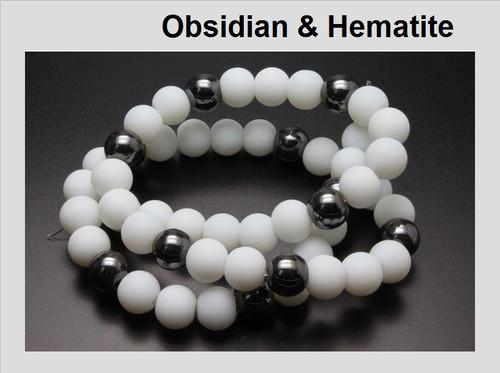 "4mm Obsidian & Hematite Round Beads 15.5"""