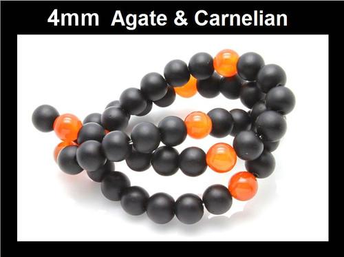 "4mm Agate & Carnelian Round Beads 15.5"""