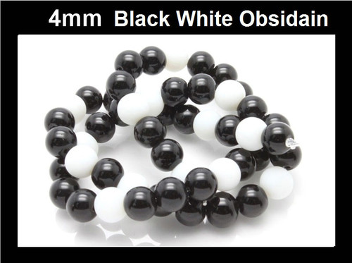 4mm Black White Obsidain Round Beads 15.5""