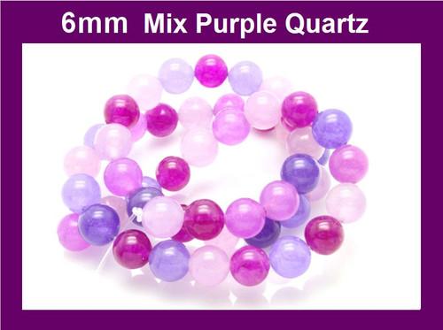 "6mm Mix Purple Quartz Round Beads 15.5"" dyed"