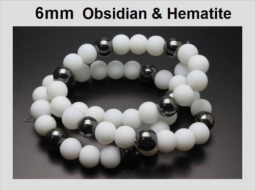 "6mm Obsidian & Hematite Round Beads 15.5"""