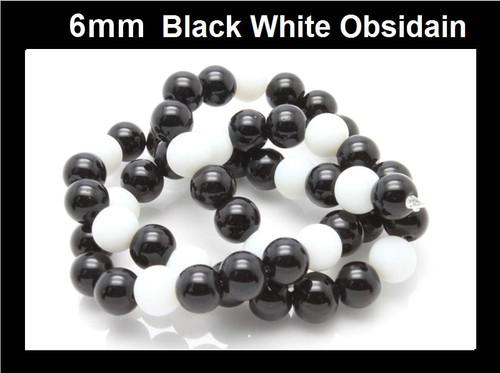 "6mm Black White Obsidain Round Beads 15.5"" [6x9]"