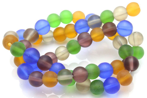 "8mm Mix Matte Dark Quartz Round Beads 15.5"" dyed"