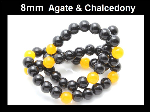 """8mm Agate & Chalcedony Round Beads 15.5"""""""