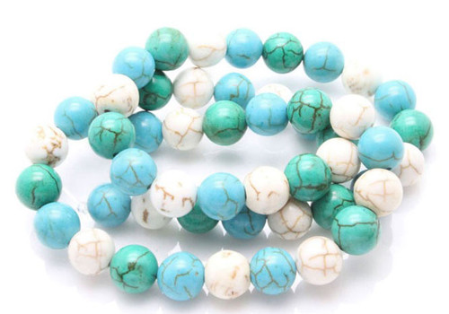 8mm White, Blue & Green Turquoise Round Beads 15.5""