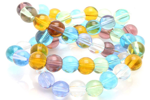 "8mm Mix Light Quartz Round Beads 15.5"" dyed"