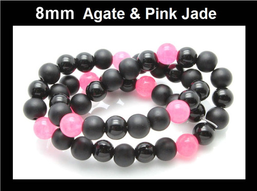 """8mm Agate & Pink Jade Round Beads 15.5"""" dyed"""
