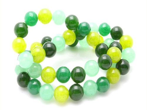 "8mm Mix Green Jade Round Beads 15.5"" dyed"