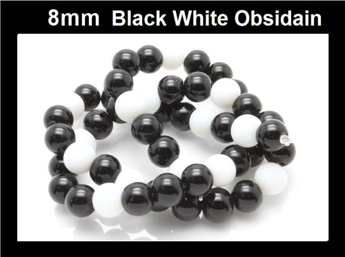 8mm Black White Obsidain Round Beads 15.5""