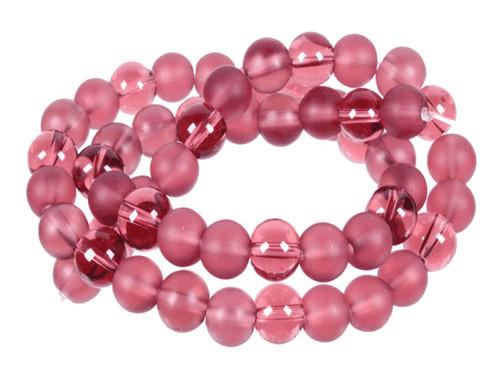 "4mm Polish & Matte Amethyst Round Beads 15.5"""