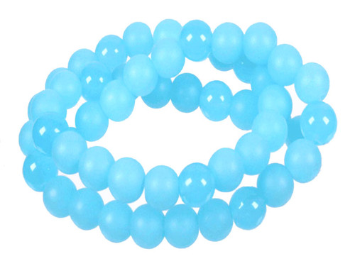 "4mm Polish & Matte Aqua Quartz Round Beads 15.5"" dyed"