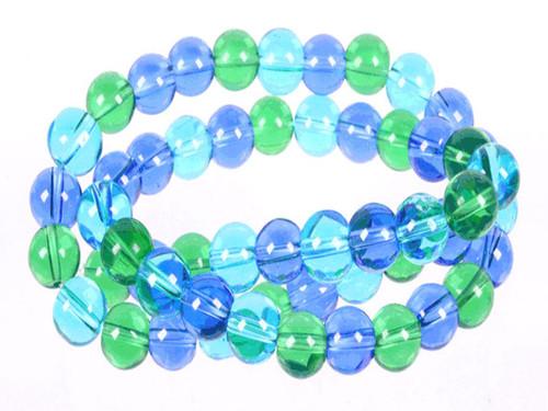 "6mm Aquamarine & Green & Blue Quartz Round Beads 15.5"" dyed"