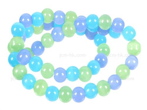 "6mm Chrysprase, Aqua Quartz & Chalcedony Round Beads 15.5"" dyed"