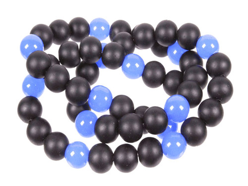 6mm Matte Black Agate & Chalcedony Round Beads 15.5""