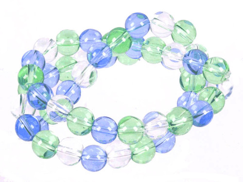 "8mm Crystal & Green & Blue Quartz Round Beads 15.5"" dyed"