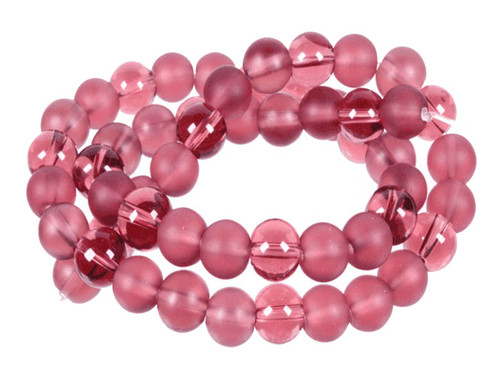 "8mm Polish & Matte Amethyst Round Beads 15.5"""