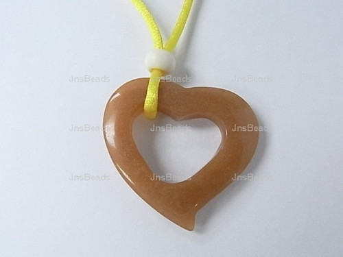 """38mm Red Aventurine Heart With Hear With Cord Necklace 36"""""""