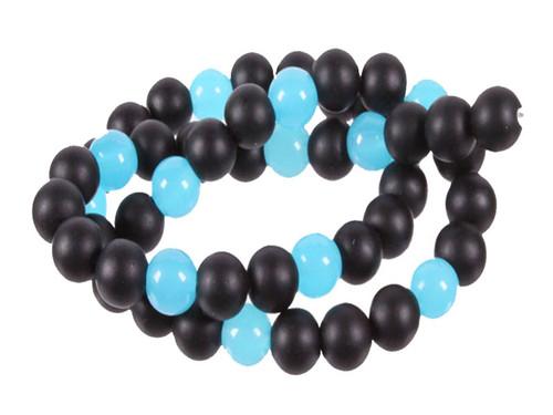 """8mm Agate & Aqua Quartz Round Beads 15.5"""" dyed [8x38]"""