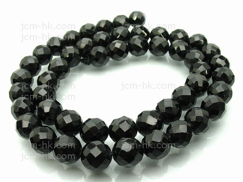 """10mm Onyx Obsidian Faceted Round Beads 15.5"""" [c10b65]"""