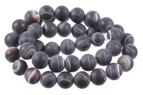 4mm Matte Black Stripe Agate Round Beads 15.5""