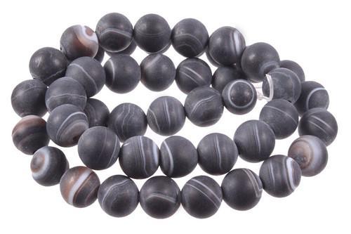 "12mm Matte Black Stripe Agate Round Beads 15.5"""