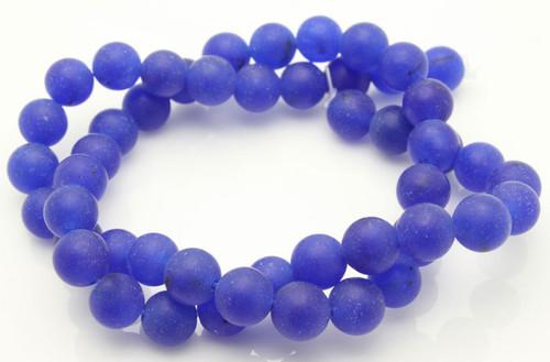 "10mm Matte Blue Agate Round Beads 15.5"""