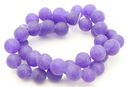 """10mm Matte Amethyst Round Beads 15.5"""" dyed"""