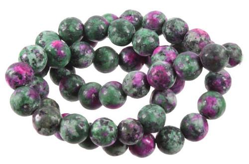 "10mm Matte China Ruby Zoisite Round Beads 15.5"""