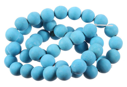 """a06d24 6mm Matte Blue Turquoise Round Beads 15.5"""""""