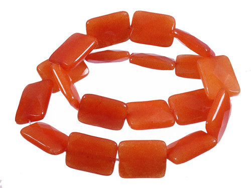 """15x20mm Red Avenrturine Faceted Rectangle Beads 15.5"""" [wa227]"""