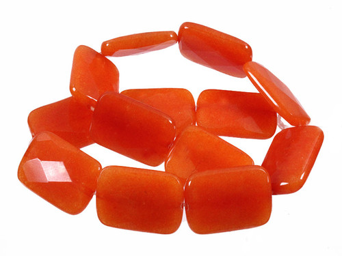 """20x30mm Red Aventurine Faceted Rectangle Beads 15.5"""" [wa229]"""