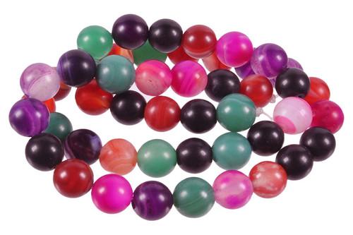 "10mm Matte Mix Stripe Agate Round Beads 15.5"""