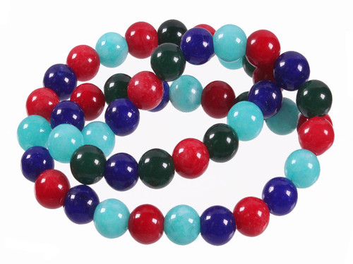 """4mm Mix Jade Round Beads 15.5"""" Natural Dyed. [4x42]"""
