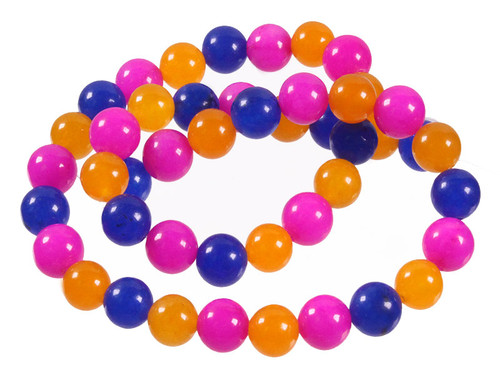"""6mm Mix Jade Round Beads 15.5"""" Natural Dyed [6x41]"""