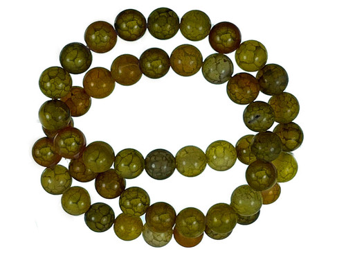 8mm Matte Yellow Fire Agate Round Beads 15.5""