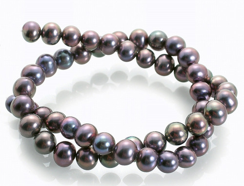 """5-6mm Peacock Roundly Freshwater Pearl 14-15"""" AaA Grade Best Lustre [p15ba]"""