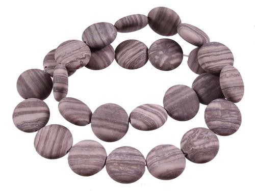 "15mm Matte Zebra Agate Puff Coin Beads 15.5"" [s4d43-15m]"