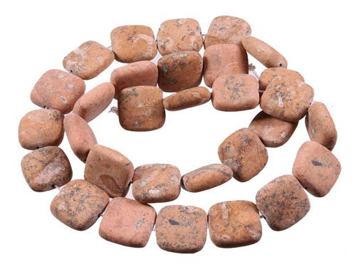 "15mm Matte Sand Jasper Puff Square Beads 15.5"" [s5b19-15m]"