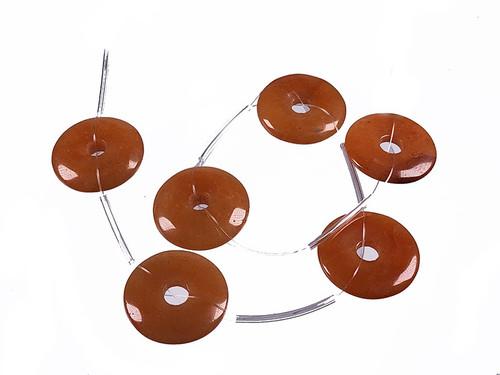 """25mm Red Aventurine Donut Beads 15.5"""" [s604]"""