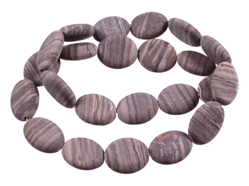 "12x16mm Matte Zebra Agate Puff Oval Beads 15.5"" [s7d43-12m]"