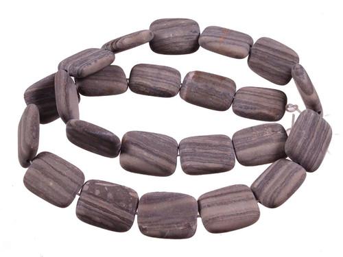 "15x20mm Matte Zebra Agate Puff Rectangle Beads 15.5"" [s8d43-15m]"