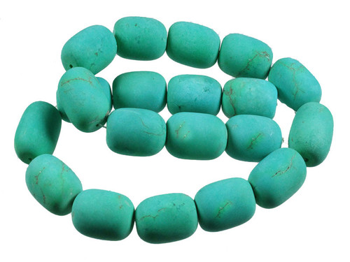 15x20mm Matte Green Turquoise Drum Beads 15.5""