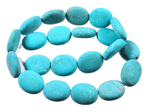 """15x20mm Matte Blue Turquoise With Black & White Matrix Puff Oval Beads 15.5"""""""